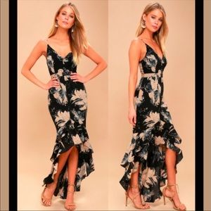 LuLus Exclusive Black Floral High Low Maxi Dress